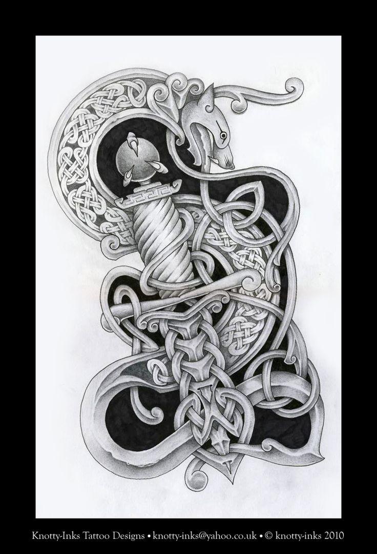 Owl greeting card set welsh artist jen delyth celtic art studio - Dragon And Dagger Celtic Knot By Tattoo Design Deviantart Com On Deviantart