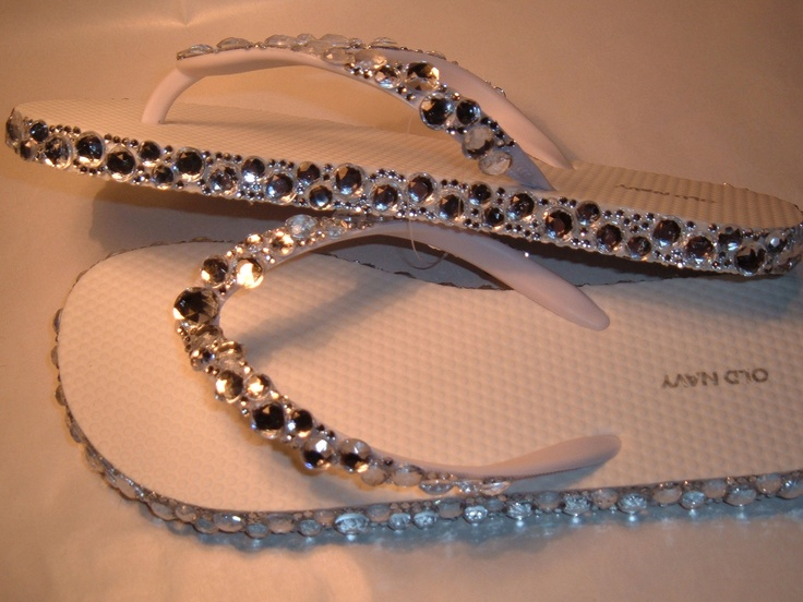 Rhinestone Bling Flip Flops Bridal Wedding