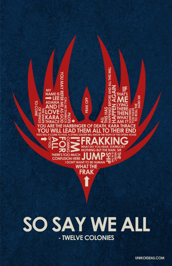Battlestar Galactica poster. AHHHHHH it could go with my Battlestar propaganda posters!!!