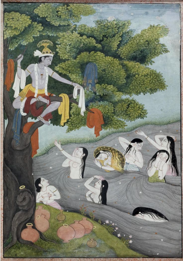Krishna Taunting the Gopi Always the prankster, Krishna spies the gopi (cowgirls) of Vraja bathing naked in the Yamuna River. He positions himself with all of their clothes high in a tree. They beg him to return their garments, but he insists that they each come out of the water to receive their clothing. c19