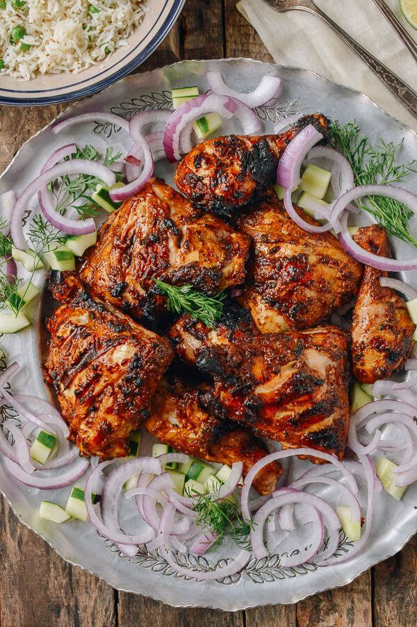 Grilled Tandoori Chicken with Indian-Style Rice, by thewoksoflife.com