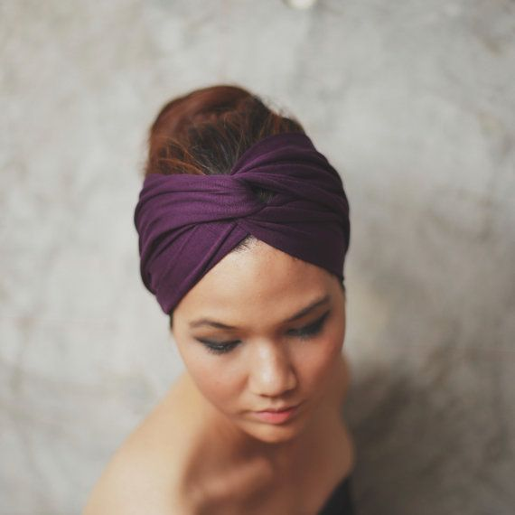 Wine Violet, Turban Twist headband, Plain color collection. $12.95, via Etsy.
