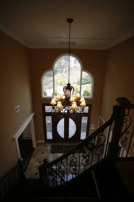 Foyer Ceiling Queen : Love the high ceiling entrance and chandelier paint color