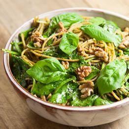 Spaghetti with spinach and walnut pesto