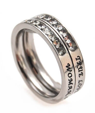 """Princess Stack """"True Love Waits"""" Christian Purity Ring"""