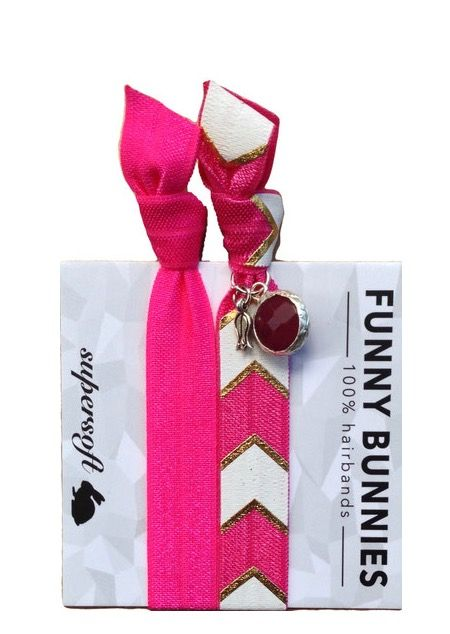 FUNNYBUNNIES - C H E V Y  G L A M , 9,95€, 2er Pack #funnybunnies #bunny #jade #silber #chevron #vegan #armcandy #hairband #pink #haargummi #zopf #schmuck