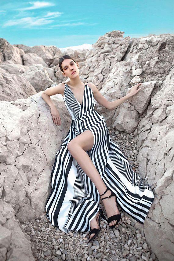 GORGEOUS LONG DRESS stripes dress long dress