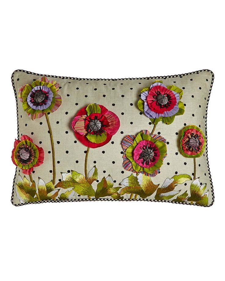 Handcrafted lumbar pillow. Linen embroidered with cotton thread. Embellished with polyester silk and rayon velvet flowers and glass beads. Polyester insert. Due to the nature of handcrafting, pillows