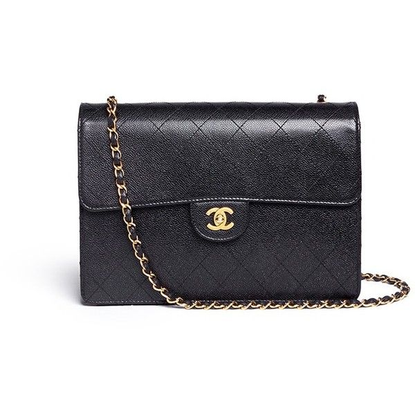 Vintage Chanel Jumbo caviar leather flap bag ($6,020) ❤ liked on Polyvore featuring bags, handbags, bags chanel, bolsos, chanel, purses, black, hand bags, leather handbags and vintage handbags purses
