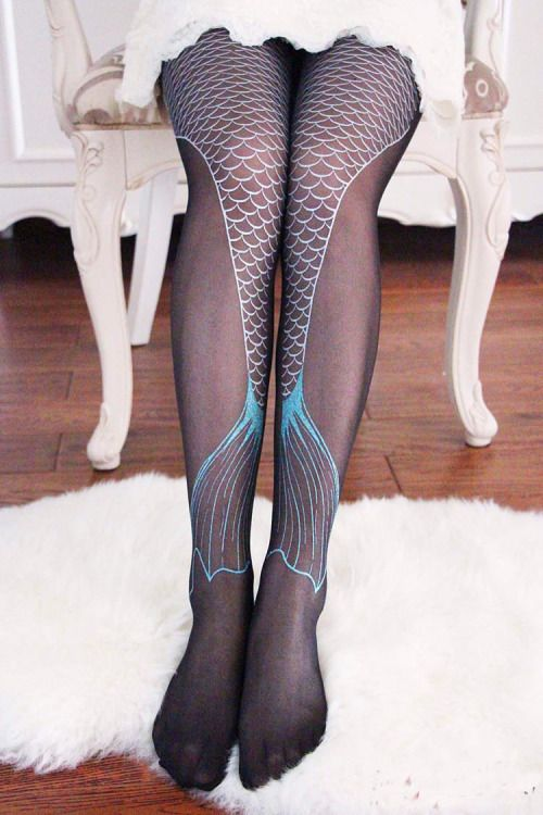 "derelictheart: "" appleflavoredcandy: "" Mermaid Tail Printed Tights - $8.45 Also available in sheer! "" precious"