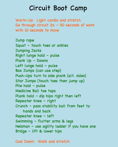 So many of these on Pinterest...this was a good all over, easily adaptable (2-3 rounds, jumprope between each exercise, etc...) quick w/o.  I did a 2 minute versaclimber warmup and finished up with 3 minute jump rope.