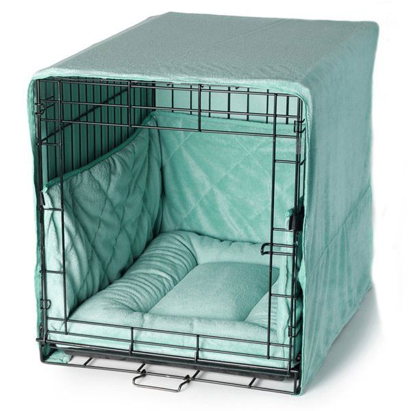 Plush Dog Crate Set w/ Cover   Bed   Bumper Pad - Tap the pin for the most adorable pawtastic fur baby apparel! You'll love the dog clothes and cat clothes! <3