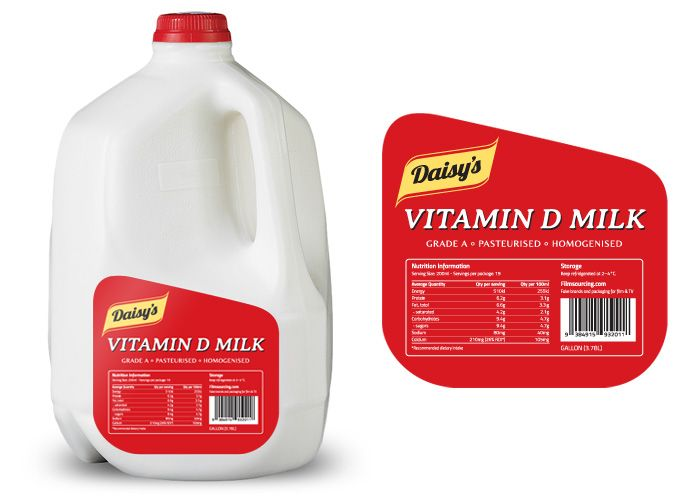 Fake Brands and Packaging - FREE Art Department Resources for film.  Vitamin D Milk Label (gallon)  Perfect for a family scene, this Vitamin D fortified milk in a gallon container communicates half hearted health consciousness and a preference of buying in bulk.  #filmmaking #resources #design