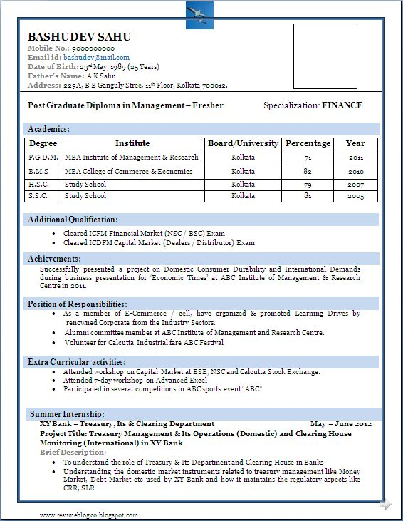 Sample Of A Beautiful Resume Format Of MBA Fresher   Resume Formats  Format Of Resume
