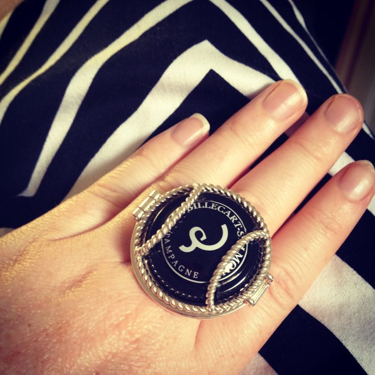 Wearing Memories ring, Billecart-Salmon cap and cue dress