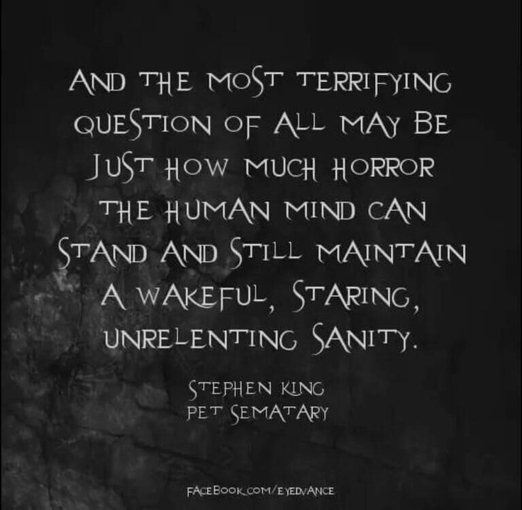 Stephen King quote.. I never did finish reading that book !!