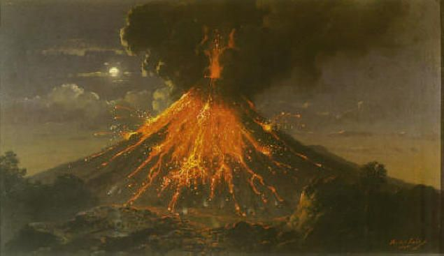 Raden Saleh, The eruption of mount Merapi at night, 61,8 x 104,4, 1866