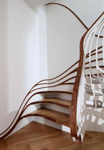 Trippy stairs.Ideas, Art Nouveau, Staircases, Interiors Design, House, Architecture, Stairs Design, Stairways, Alex O'Loughlin