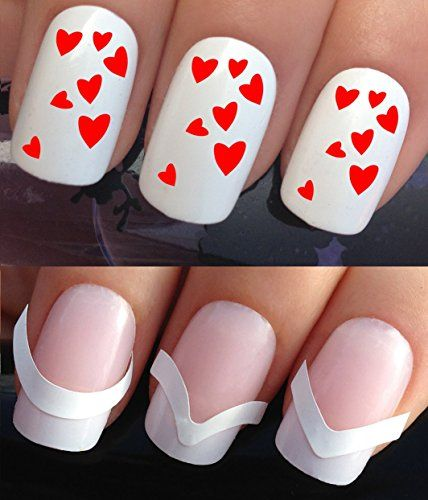 VALENTINES DAY NAIL DECALS WATER TRANSFERS STICKERS TATTOO ART SET #296 & 172. **plus x48 nail tip guides!!** x24 RED LOVE HEART MINI CLUSTERS TATTOO WRAPS & x48 FRENCH MANICURE TIP GUIDES! CAN BE USED WITH NATURAL GEL ACRYLIC STICK ON NAILS! OR WITH GLITTER DUST CAVIAR BEADS ALLOYS DECORATIONS CONFETTI FIMO SHAPES TAPE PENS RHINESTONES! Nail Art Set consists of a set of water transfer decals and a set of 48 french manicure tip guides.  Read more http://cosmeticcastle.net/val