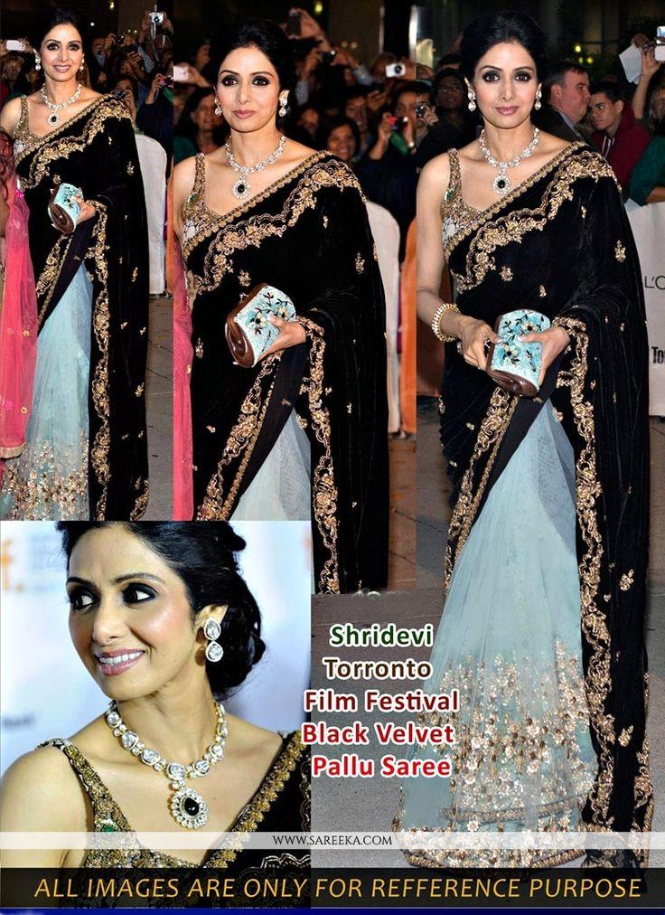 Sridevi Black And Grey Embroidery Net Designer Saree