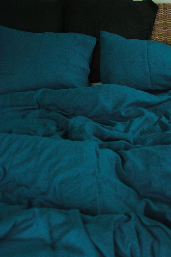 Linen Duvet Cover In Sea Blue Dark Teal Color Washed Soft Natural 100 Flax Queen King Full Comforter Cover Blue Bedding Blue Bedding Teal Duvet Cover Teal Bedding