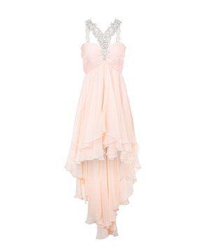 Shell Pink (Pink) Forever Unique Shell Pink Embellished Halterneck Dip Hem Dress  | 272428472 | New Look