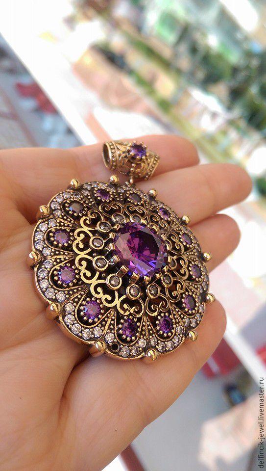 Купить Роскошный кулон из серебра с аметистами в османском стиле. - фиолетовый, османский стиль, великолепный век