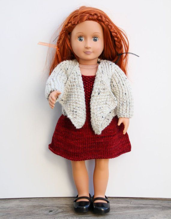 faf6e4c7b Red Dress with Jacket for 18 Inch Doll - Hand Knit Set of Sleeveless ...