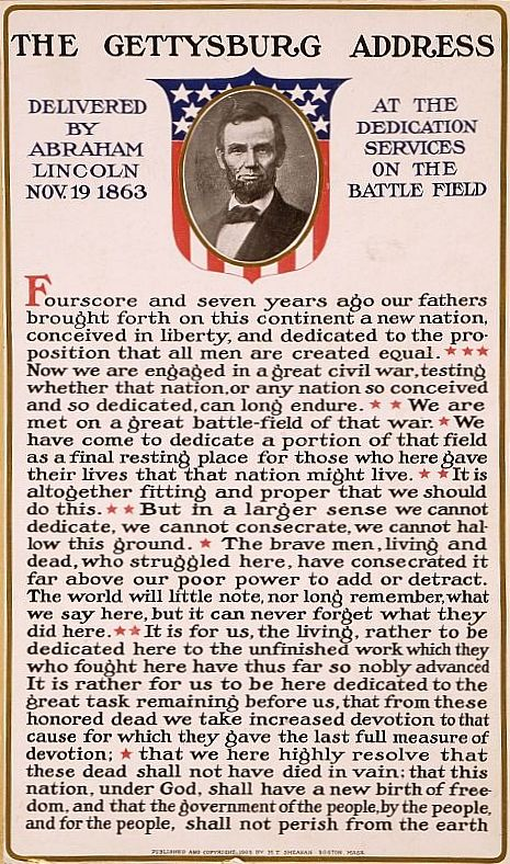 The Gettysburg Address! Short and to the point!!