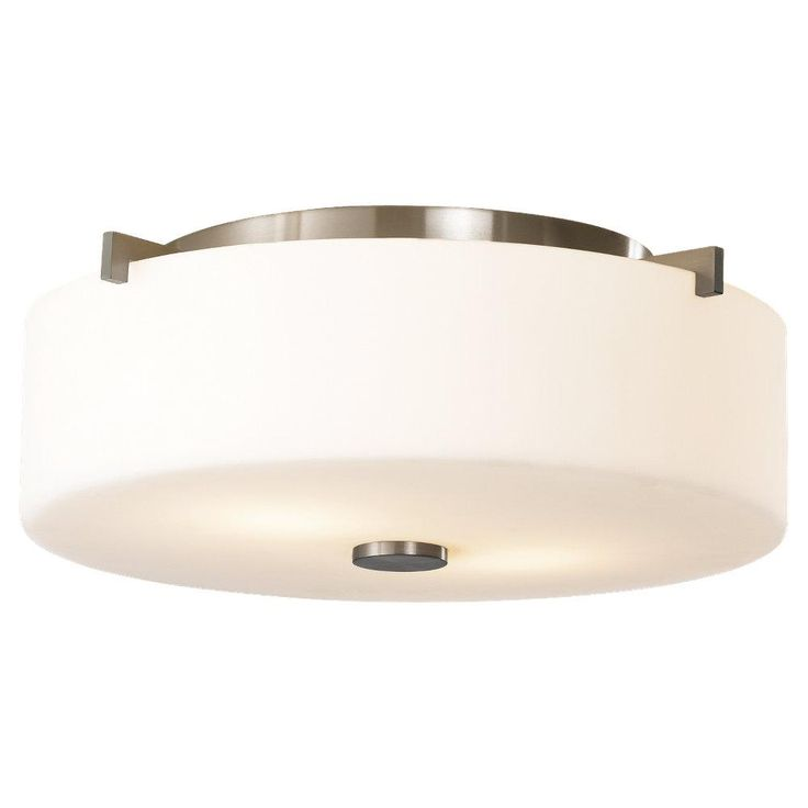 Two Light Brushed Steel White Opal Etch Glass Drum Shade Flush Mount