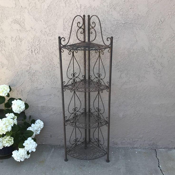 Wrought Iron Garden Plant Stand, Wrought Iron Corner Shelf, Folding 4 Tier Metal  Shelf