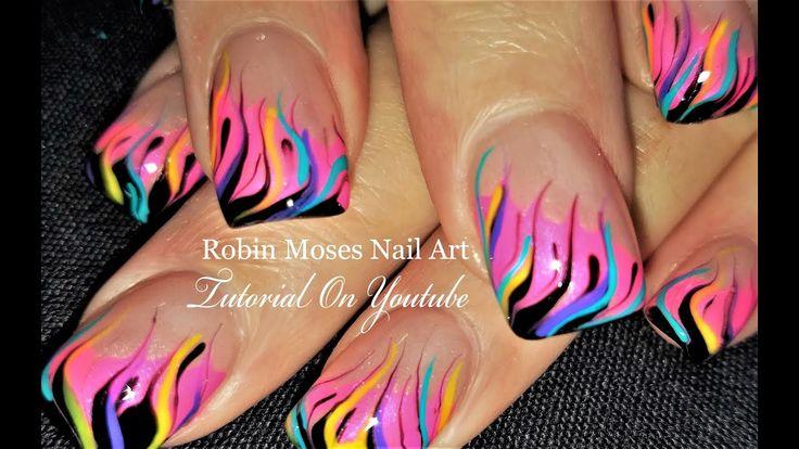 Neon Rainbow Flame Nails | DIY Fire Nail Art Party Design Tutorial