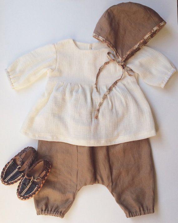 Caramel vászon hárem nadrág, kislány ruha, kisfiú ruhák, ágynemű bébi ruhák