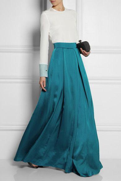 ROKSANDA ILINCIC Alia pleated duchesse-satin maxi skirt