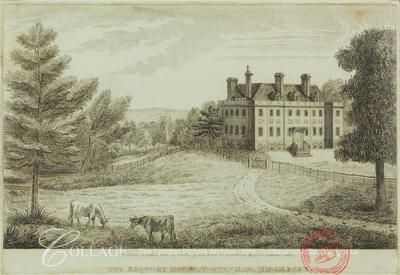 Tottenham, Haringey    View of the Rectory House at Tottenham in the London borough of Haringey, with cows grazing in the foreground; Tottenham was formerly in Middlesex.    1818