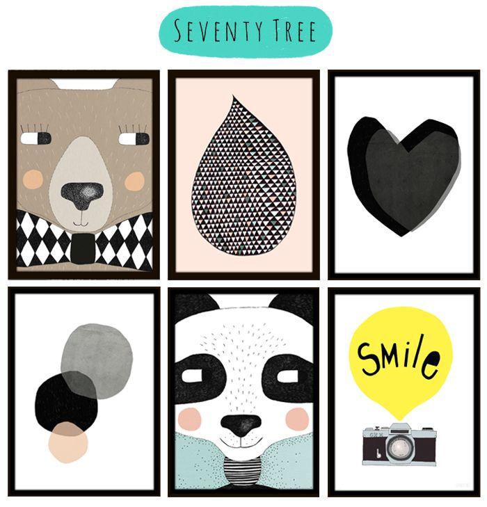 Des posters Seventy Tree aux caractères géométriques pour égayer la chambre de vos enfants.   http://www.goodobject.me/23_seventy-tree