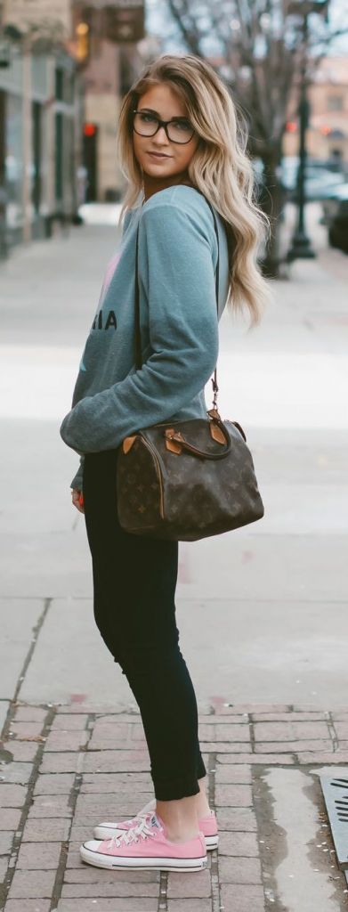 #fall #fashion / casual green sweatshirt + pink converse