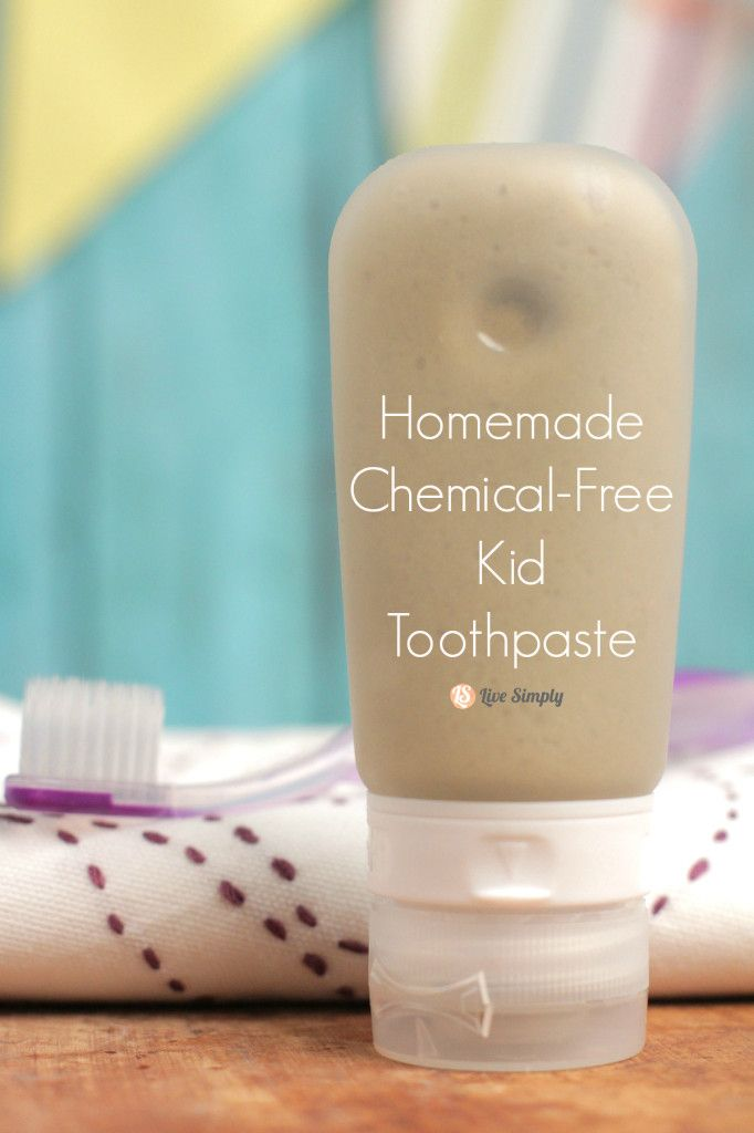 Homemade Chemical-Free Kid Toothpaste - Live Simply   Ingredients 1/3 cup coconut oil, soft but not melted  1 TB good-quality baking soda  1 TB bentonite clay  1/4 tsp pure liquid stevia 4-10 drops of essential oil: I use Sweet Orange for this. Lemon or Peppermint are also an option, if that's more appealing to your kids.