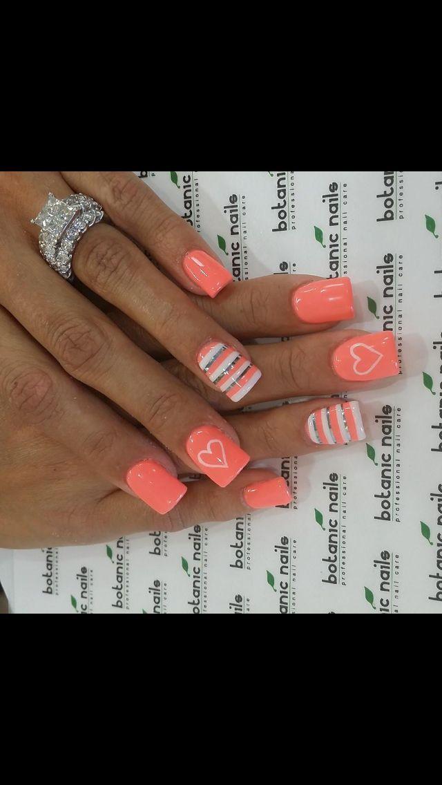 Spring nail art! Nail art design! Nails! Peach Nails!  CLICK.TO.SEE.MORE...