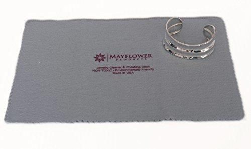 "Mayflower Polishing Cloth for Cleaning Silver Gold and Platinum Jewelry - NON TOXIC- Jewelry Cleaner - Size 11"" X 14"" - Tarnish Remover- Layer of Protection for Jewelry - Includes A Jewelry Bag (assorted colors)"