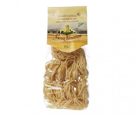 Pasta from organic agricolture, just dhurum wheat and water, bronze drawn, from Val d'Orcia, close to Siena. Pici is a typical long pasta format from middle Italy, it bears the cooking and can be combined with several different sauces. Lovely with game meat sauces, like wildboar or hare, or farm's sauces, e.g. with goose.