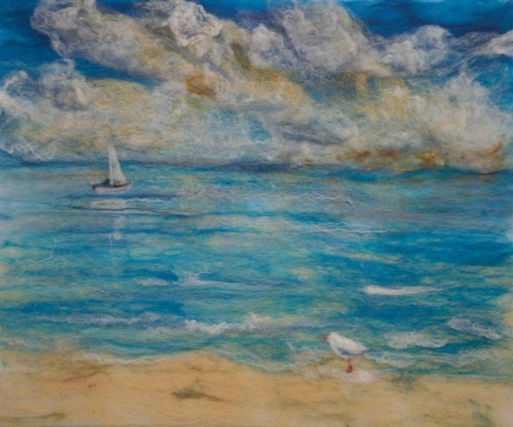 felted painting of calm blue seas - by Liz Butcher - looks like Valinor