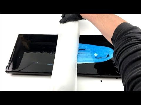 acrylic pouring – Center Swipe – black and blue – YouTube