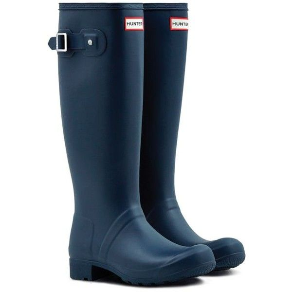Hunter Navy Womens Original Tour Rain Boots - Packable - Women's (€140) ❤ liked on Polyvore featuring shoes, boots, navy, rubber boots, fold over tall boots, navy blue rain boots, high rubber boots and high boots