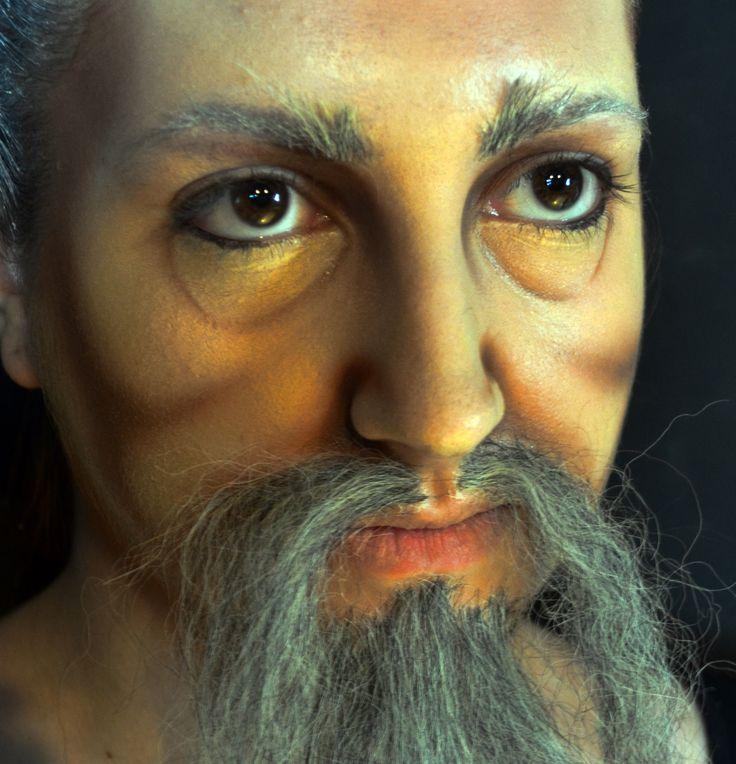 Maquillaje teatral envejecimiento con aplicacion de crepe