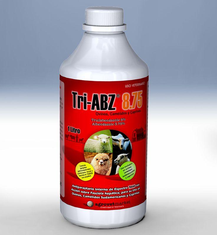 Tri-ABZ® 8.75 Antiparasitario interno de espectro total. Fórmula: Triclabendazole 50 mg, albendazole 37.5 mg, excipientes c.s.p. 1 mL. Indicaciones: Indicado para el tratamiento y control simultáneo de todas las parasitosis internas: nemátodes gastrointestinales, pulmonares, tenias y Fasciola hepatica (estadíos inmaduros precoces, inmaduros y adultos).