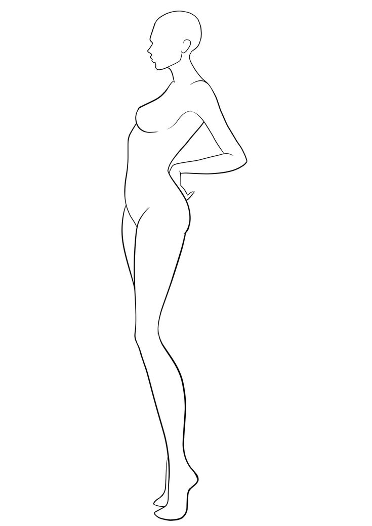 Fashion Template #38. Side view fashion figure template. Blank body template for fashion design drawing and collections creation.