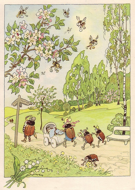 May Bug Family by Fritz Baumgarten. Unlike this fanciful picture, May Bugs do not actually live in nuclear family units.