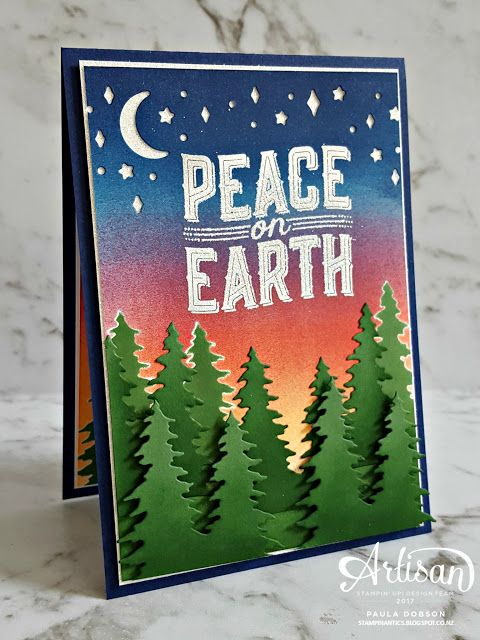 Paula Dobson -Stampinantics: Peace on Earth at Christmas.  Stampin' Up! Artisan Blog Hop featuring the Carols of Christmas stamp set and dies. #pauladobson #stampinantics #carolsofchristmasstampset #artisandesignteam