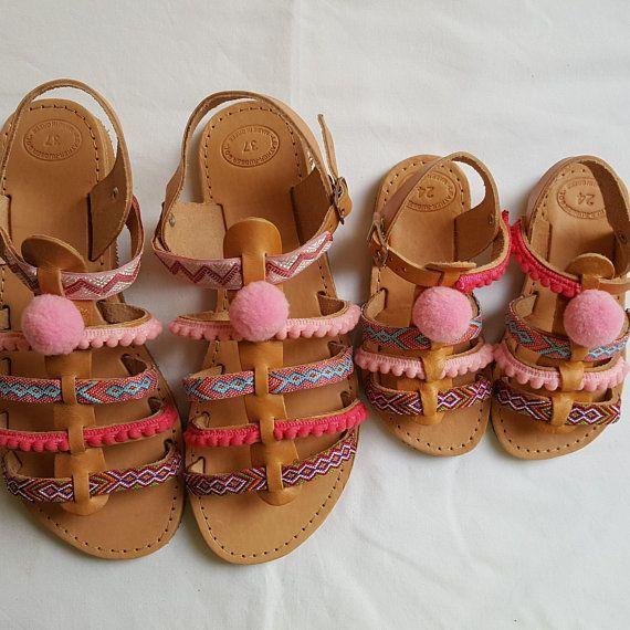 Boho Gladiator Sandals, Greek Sandals, Leather Sandals, Set mother and daughter shoes